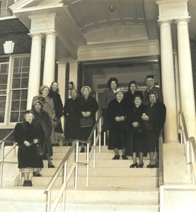 Residents on the steps of the new Hebrew Home in Riverdale